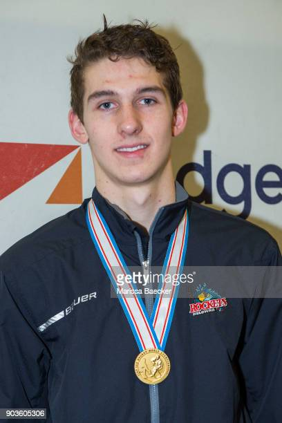 Cal Foote of the Kelowna Rockets speaks to media at Prospera Place on January 10 2018 in Kelowna Canada Foote won a gold medal as a member of Team...