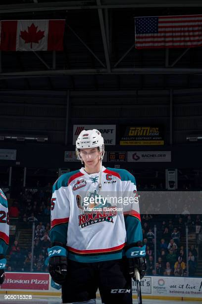 Cal Foote of the Kelowna Rockets stands on the ice during the national anthems against the Spokane Chiefs at Prospera Place on January 10 2017 in...