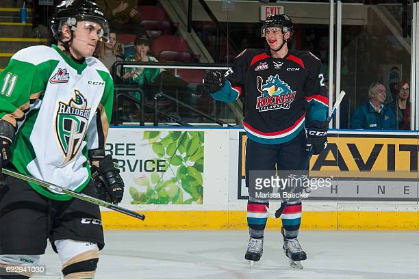 Cal Foote of the Kelowna Rockets stands on the ice to celebrate a third period goal against the Prince Albert Raiders at Prospera Place on November...