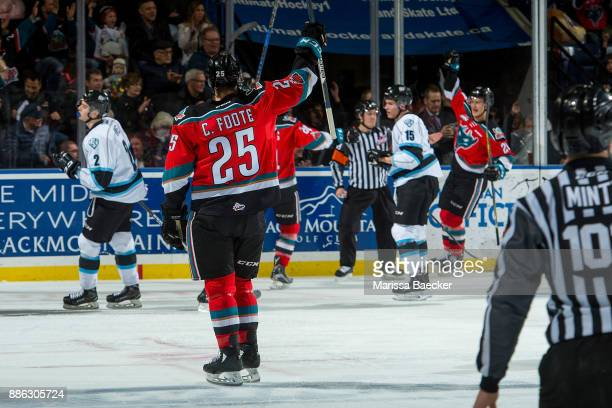 Cal Foote of the Kelowna Rockets throws his hand in the air to celebrate a goal against the Kootenay Ice on December 2 2017 at Prospera Place in...