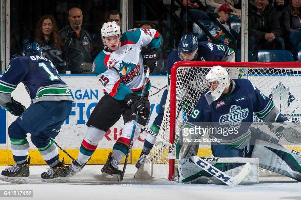 Cal Foote of the Kelowna Rockets tries to score on Matt Berlin of the Seattle Thunderbirds on February 13 2017 at Prospera Place in Kelowna British...