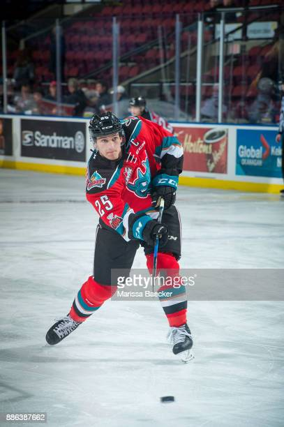 Cal Foote of the Kelowna Rockets warms up with a shot on net against the Prince George Cougars at Prospera Place on November 29 2017 in Kelowna Canada