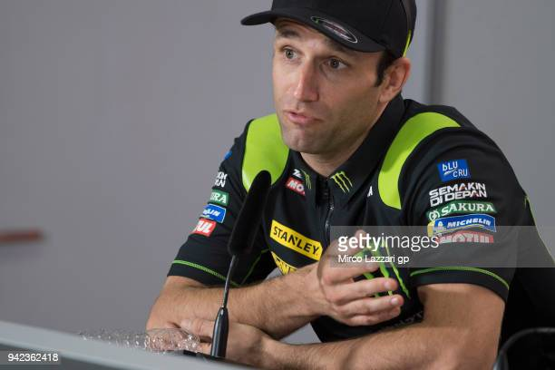 Cal Johann Zarco of France and Monster Yamaha Tech 3 speaks during the press conference preevent during the MotoGp of Argentina Previews on April 5...