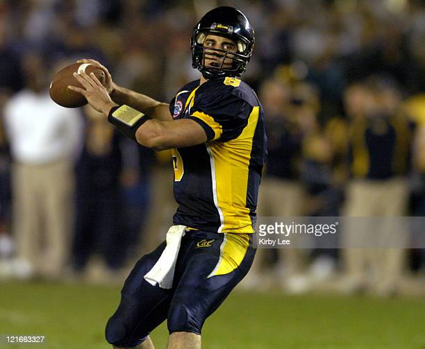 Cal junior quarterback Aaron Rodgers drops back to pass during 4531 loss to Texas Tech in the Pacific Life Holiday Bowl at Qualcomm Stadium in San...