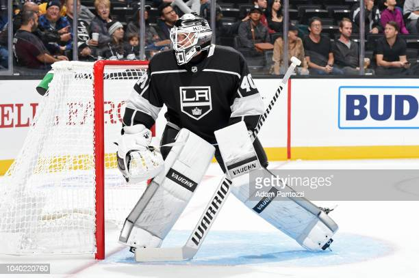 Cal Petersen of the Los Angeles Kings defends the net during a preseason game against the Arizona Coyotes at STAPLES Center on September 18 2018 in...