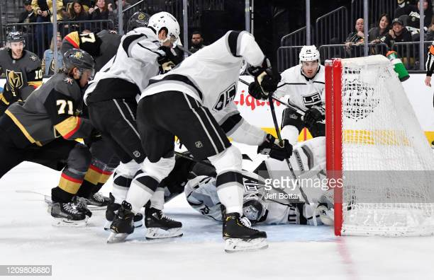 Cal Petersen of the Los Angeles Kings makes a save during the third period against the Vegas Golden Knights at TMobile Arena on March 01 2020 in Las...
