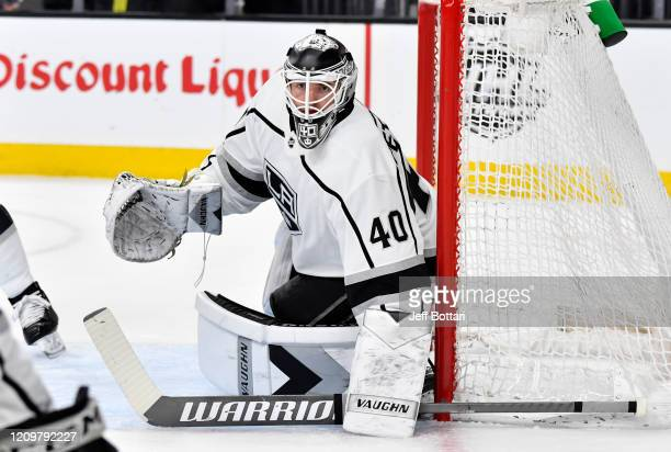 Cal Petersen of the Los Angeles Kings tends net during the first period against the Vegas Golden Knights at TMobile Arena on March 01 2020 in Las...