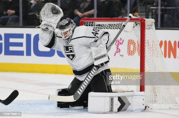Cal Petersen of the Los Angeles Kings tends net during the second period against the Vegas Golden Knights at TMobile Arena on March 01 2020 in Las...