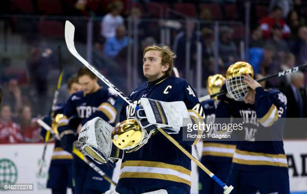 Cal Petersen of the Notre Dame Fighting Irish tends goal during NCAA men's hockey against the Boston University Terriers at Agganis Arena on February...