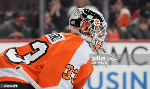 Cal Pickard of the Philadelphia Flyers looks on against the New Jersey Devils on November 15 2018 at the Wells Fargo Center in Philadelphia...