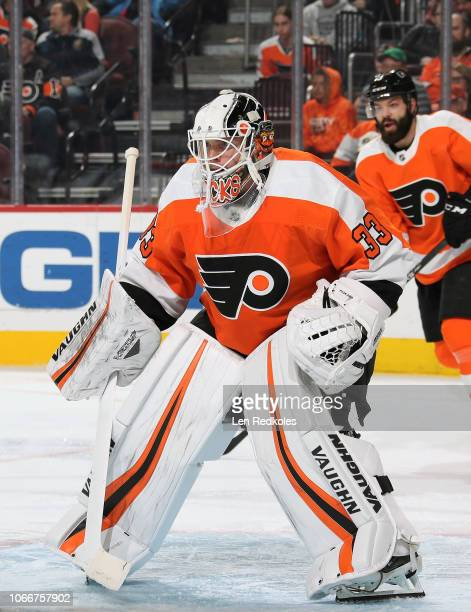Cal Pickard of the Philadelphia Flyers tends goal against the Arizona Coyotes on November 8 2018 at the Wells Fargo Center in Philadelphia...
