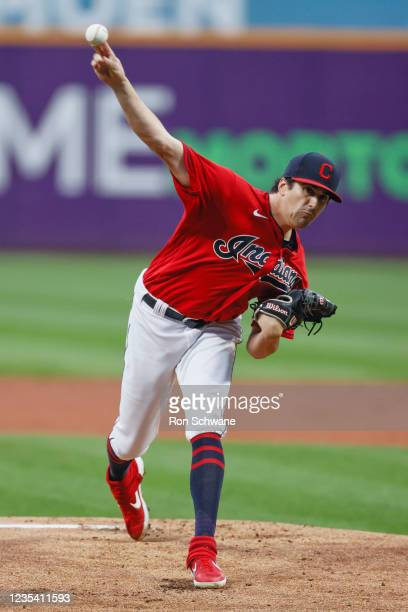Cal Quantrill of the Cleveland Indians pitches against the Kansas City Royals during the first inning at Progressive Field on September 21, 2021 in...