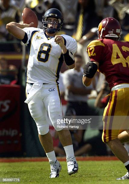 Cal quarterback Aaron Rodgers left passes during first half football action of USC vs Cal at the LA Memorial Coliseum Saturday in LA USC's Dallas...