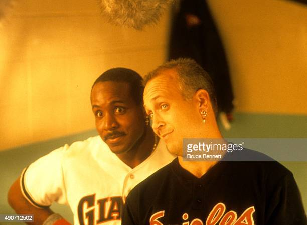 Cal Ripken Jr #8 of the Baltimore Orioles and Barry Bonds of the San Francisco Giants on the set for an event in January 1995 at Dodger Stadium in...