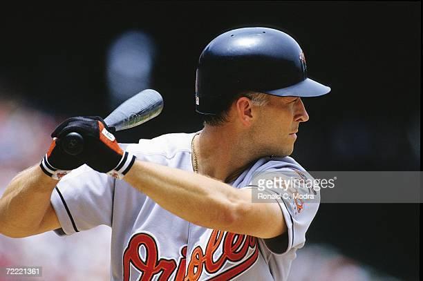 Cal Ripken Jr #8 of the Baltimore Orioles batting during an interleague game against the Atlanta Braves at Turner Field on June 14 1997 in Atlanta...