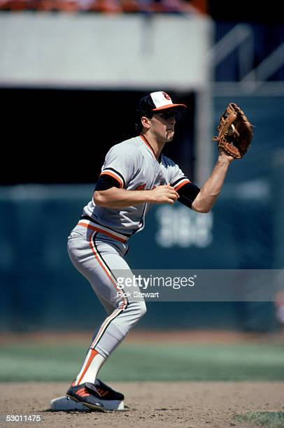 Cal Ripken Jr #8 of the Baltimore Orioles catches the ball during a game in the 1985 season against the California Angels at Anaheim Stadium in...