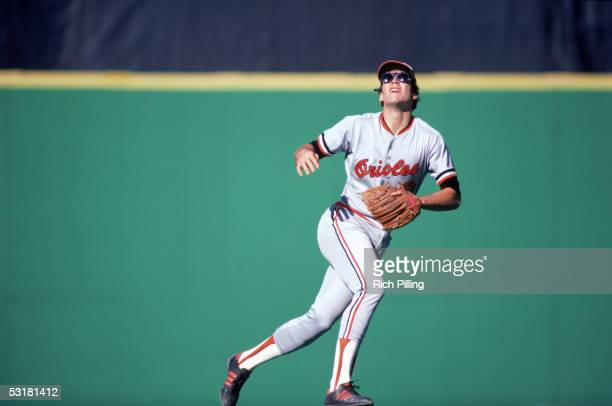 Cal Ripken Jr #8 of the Baltimore Orioles goes after a fly ball during a 1983 World Series game against the Philadelphia Phillies at Veterans Stadium...