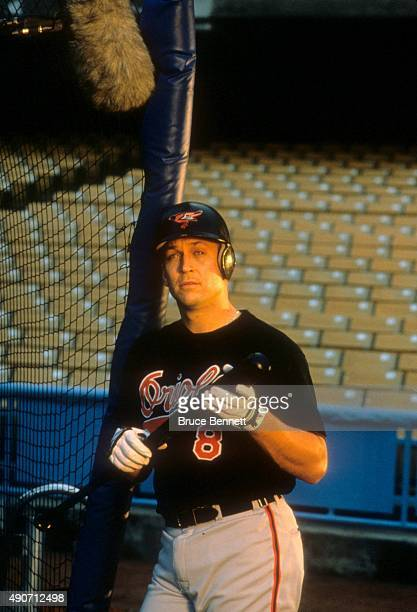Cal Ripken Jr #8 of the Baltimore Orioles on the set for an event in January 1995 at Dodger Stadium in Los Angeles California
