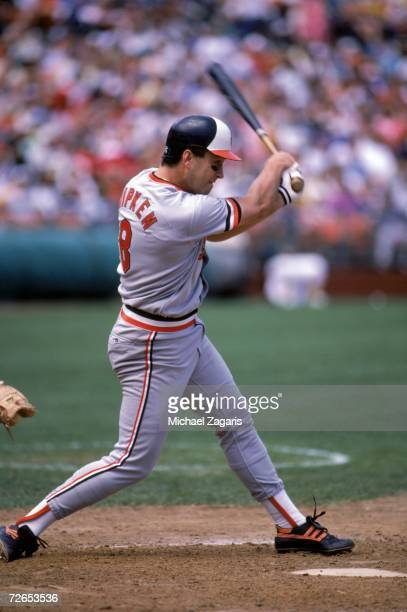 Cal Ripken, Jr. #8 of the Baltimore Orioles swings the bat a game against the Oakland Athletics at the Oakland-Alameda County Coliseum on May 25,...