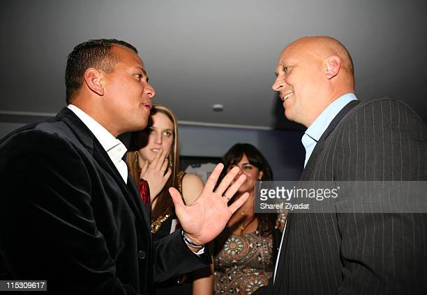 Cal Ripken Jr and Alex Rodriguez during Alex Rodriguez and Jay Z Celebrity Poker Tournament Inside at 40/40 Club in New York United States