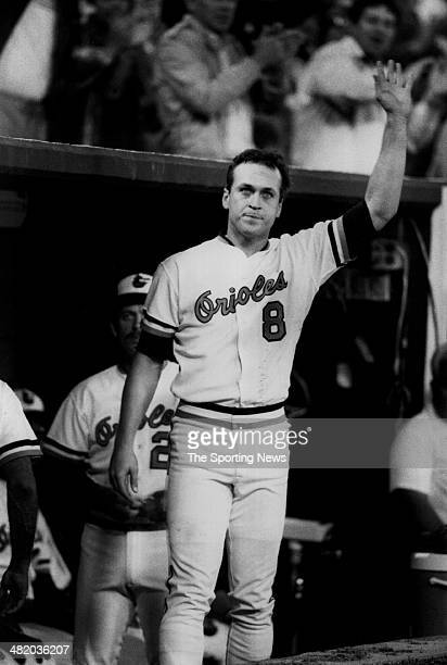 Cal Ripken Jr. Of the Baltimore Orioles acknowledges the crowd circa 1980s.