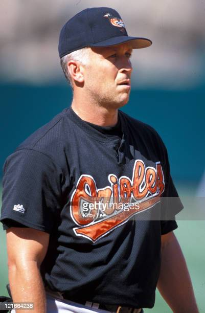 Cal Ripken Jr of the Baltimore Orioles during batting practice before game against the Anaheim Angels at Edison Field aka Angel Stadium in Anaheim...