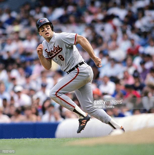 Cal Ripken Jr. Of the Baltimore Orioles runs to second base against the New York Yankees at Yankee Stadium on June 2, 1990 in the Bronx, New York....