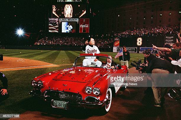 Cal Ripken of the Baltimore Orioles acknowledges the crowd against the Boston Red Sox at Oriole Park at Camden Yards on October 6, 2001 in Baltimore,...