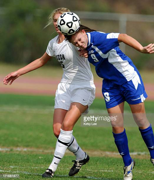 Cal State Bakersfield freshman forward Moriah Neville battles Jessica Gatica for ball during 21 overtime loss in CCAA women's soccer match at the...