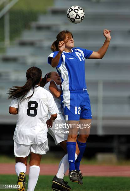 Cal State Bakersfield sophomore midfielder Krstyle Immel heads ball during 21 overtime loss to Cal State Dominguez Hills in CCAA women's soccer match...