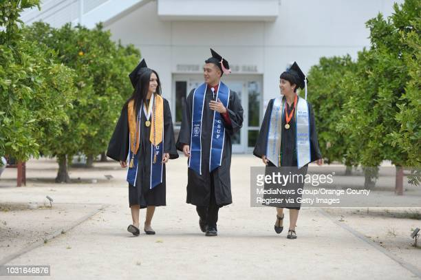 Cal State Fullerton graduates Karla Lopez left Christian Bana center and Angelica Ruiz on campus on Monday Karla Lopez is a 26yearold biology...