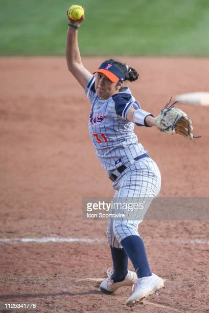 Cal State Fullerton Titans pitcher Dani Martinez pitches during a college softball game between the Alabama Crimson Tide and the Cal State Fullerton...