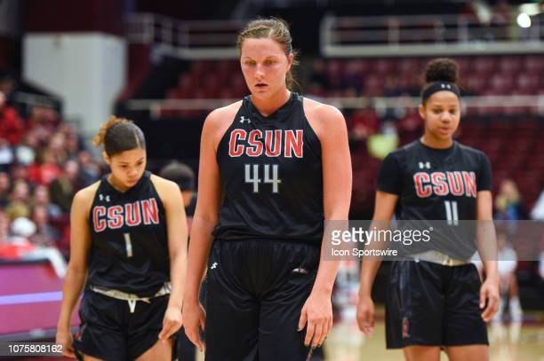 Cal State Northridge Center Lauren Shymkewicz and teammates near the end of the game during the NCAA Women's Basketball game between the Cal State...