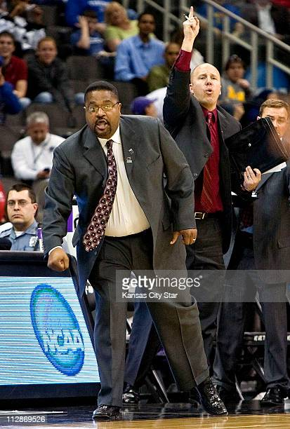 Cal State Northridge coach Bobby Braswell reacts as team plays Memphis during NCAA first round basketball game at Sprint Center in Kansas City...