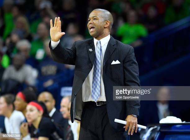Cal State Northridge Matadors head coach Jason Flowers reacts during the game against the Notre Dame Fighting Irish during first round of the...