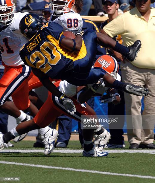Cal Tailback Justin Forsett upended in big yardage run Illinois Running Back Pierre Thomas runs as California defeated the University of Illinois by...