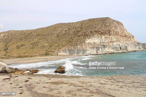 cala de enmedio beach in cabo de gata natural park - fossil site stock pictures, royalty-free photos & images