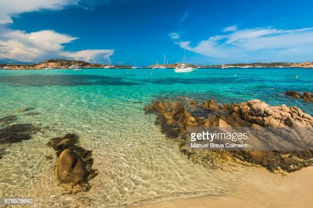cala dei cavaliere, island of budelli, la maddalena archipelago, sardinia, italy - costa smeralda stock pictures, royalty-free photos & images