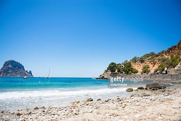 Cala d'Hort beach in Ibiza w/ Mediterranean Sea
