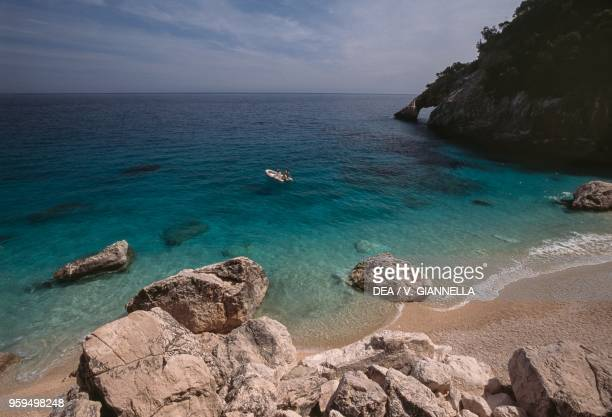 Cala Goloritze beach with natural stone arch National Park of the Bay of Orosei and Gennargentu Ogliastra Sardinia Italy