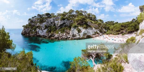 cala macarelleta beach panorama, menorca, spain - カラマカレラ ストックフォトと画像