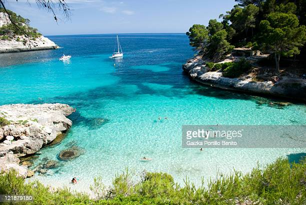 cala mitjaneta, menorca - balearic islands stock pictures, royalty-free photos & images