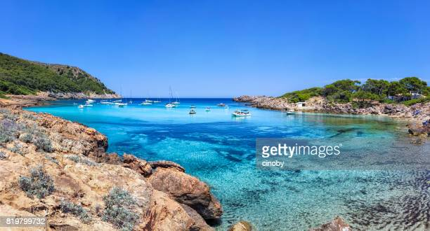 cala moltó a small bay in the north east of the spanish balearic island of majorca / spain - majorca stock pictures, royalty-free photos & images