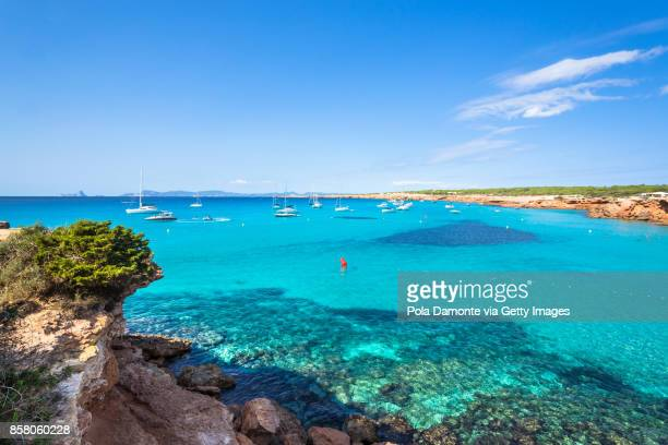 Cala Saona, Formentera coastline idyllic beach in Balearic Islands, Spain