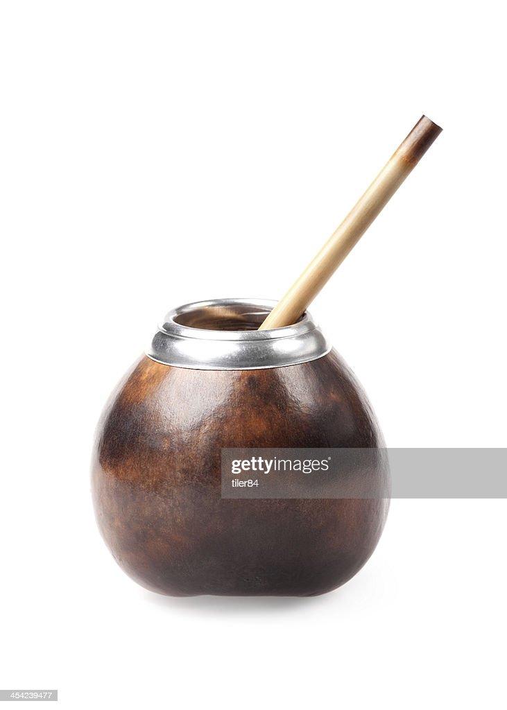 calabash and bombilla isolated on white background : Stock Photo