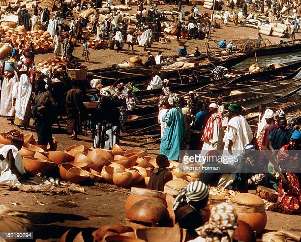Calabashes on sale beside the river Niger at Mopti, once one of the major entrepots of the trans-Saharan trade caravans, The trade routes converging...
