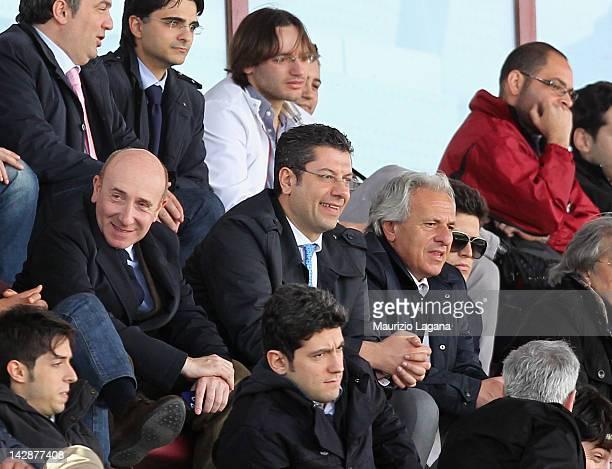 Calabria Governor Giuseppe Scopelliti attends the Serie B match between Reggina Calcio and FC Crotone at Stadio Oreste Granillo on April 14 2012 in...