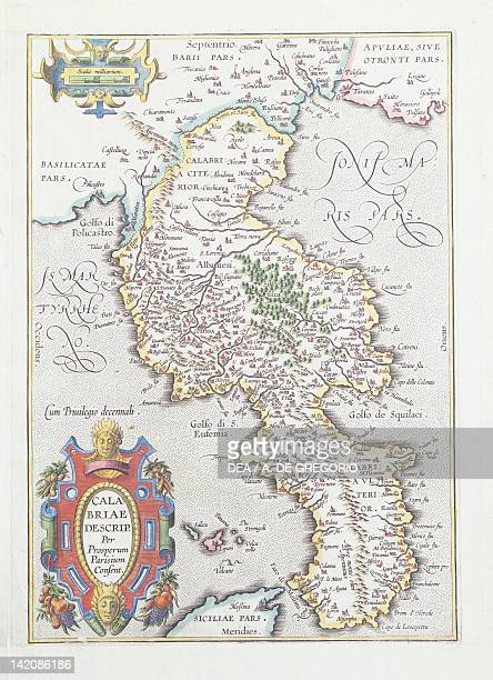 Calabria Region, Italy, sixteenth century cartographic plate.