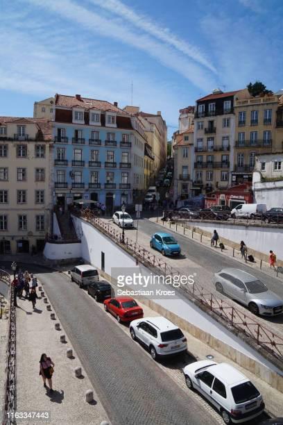 calçada do carmo street uphill, old lisbon, portugal - calçada stock pictures, royalty-free photos & images