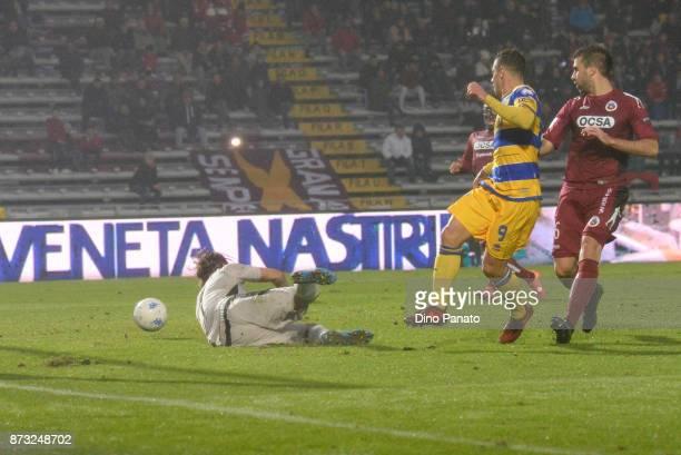 Calaio' of Parma Calcio scores his teams second goal during the Serie B match between AS Cittadella and Parma Calcio on November 12 2017 in...
